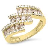 1.25 Carat (Ctw) 18K Yellow Gold Round Champagne & White Diamond Ladies Bypass Fashion Right Hand Ring