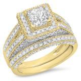 2.00 Carat (Ctw) 14K Yellow Gold Princess & Round Cut White Diamond Ladies Split Shank Vintage Style Bridal Engagement Ring With Matching Band Set