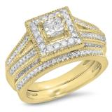 0.95 Carat (Ctw) 10K Yellow Gold Princess & Round Cut White Diamond Ladies Split Shank Millgrain Bridal Engagement Ring With Matching Band Set