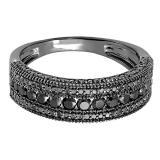 1.25 Carat (Ctw) Black Rhodium Plated 10K White Gold Round Cut Black Diamond Men's Wedding Millgrain Stackable Band