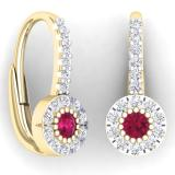 0.55 Carat (Ctw) 14K Yellow Gold Round Cut Ruby & White Diamond Ladies Cluster Halo Style Dangling Drop Earrings