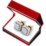 0.50 Carat (Ctw) 10K Rose Gold Real Round Cut White Diamond Ladies Cluster Stud Earrings 1/2 CT