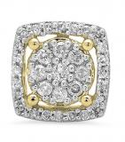 0.25 Carat (Ctw) 10K Yellow Gold Real Round Cut White Diamond Ladies Cluster Stud Earring 1PC
