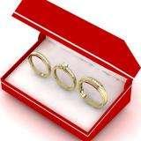 0.85 Carat (Ctw) 14K Yellow Gold Princess & Round Cut White Diamond Men & Women's Fashion Engagement Ring Trio Bridal Set