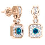 0.60 Carat (ctw) 14K Rose Gold Round Blue Sapphire & White Diamond Ladies Cluster Flower Dangling Drop Earrings