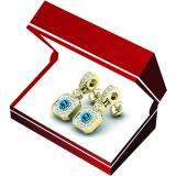 0.60 Carat (ctw) 18K Yellow Gold Round Blue Sapphire & White Diamond Ladies Cluster Flower Dangling Drop Earrings