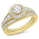 0.85 Carat (ctw) 14K Yellow Gold Round Diamond Ladies Halo Style Bridal Engagement Ring With Matching Band Set