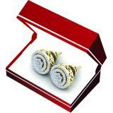 0.60 Carat (ctw) 18K Yellow Gold White Diamond Ladies Cluster Flower Stud Earrings 1/2 CT