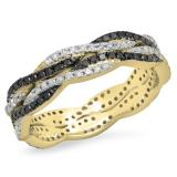 0.75 Carat (Ctw) 10K Yellow Gold Round Cut White & Black Diamond Ladies Bridal Stackable Swirl Anniversary Wedding Band 3/4 CT