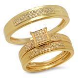 0.25 Carat (ctw) 10K Yellow Gold White Diamond Men's & Women's Micro Pave Engagement Ring Trio Bridal Set