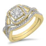 0.55 Carat (ctw) 18K Yellow Gold Round Cut White Diamond Ladies Bridal Swirl Split Shank Halo Engagement Ring With Matching Band Set 1/2 CT