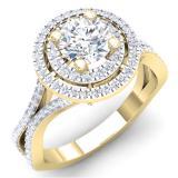 1.50 Carat (ctw) 14K Yellow Gold Round Cut White Cubic ZIrconia Ladies Bridal Split Shank Halo Style Engagement Ring
