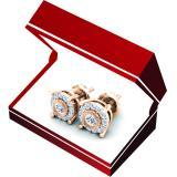 0.25 Carat (Ctw) 18K Rose Gold Round Cut Diamond Ladies Circle Stud Earrings 1/4 CT