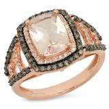 2.60 Carat (ctw) 14K Rose Gold Emerald Cut Morganite & Round Cut Champagne & White Diamond Ladies Halo Style Bridal Engagement Ring