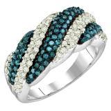 0.80 Carat (ctw) 10K White Gold Round Cut Blue & White Diamond Ladies Bridal Swirl Fashion Right Hand Ring 3/4 CT