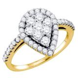 0.90 Carat (ctw) 10K Yellow Gold Round Cut White Diamond Ladies Right Hand Cluster Fashion Ring