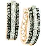 1.15 Carat (ctw) 10K Rose Gold Round Black & White Diamond Ladies Fashion Huggies Hoops Earrings