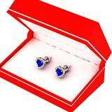 1.30 Carat (ctw) 18K White Gold Heart Cut Blue Sapphire & Round Cut White Diamond Ladies Halo Stud Earrings