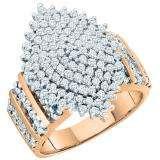 1.15 Carat (ctw) 10K Rose Gold Round Cut White Diamond Ladies Cluster Right Hand Ring