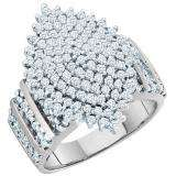 1.15 Carat (ctw) 10K White Gold Round Cut White Diamond Ladies Cluster Right Hand Ring