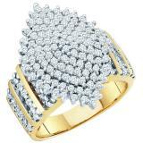 1.15 Carat (ctw) 10K Yellow Gold Round Cut White Diamond Ladies Cluster Right Hand Ring