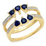 1.00 Carat (ctw) 10K Yellow Gold Trillion Cut Blue Sapphire & Round Cut White Diamond Ladies Anniversary Wedding Band Enhancer Guard Ring 1 CT