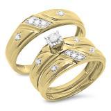 0.20 Carat (ctw) 10K Yellow Gold Round Cut White Diamond Men & Women's Engagement Ring Trio Bridal Set 1/5 CT