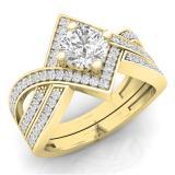 1.20 Carat (ctw) 14K Yellow Gold Round Cut White Cubic Zircona Ladies Bridal Swirl Split Shank Engagement Ring With Matching Band Set