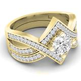 1.20 Carat (ctw) 14K Yellow Gold Round Cut White Cubic Zircona Ladies Bridal Swirl Split Shank Engagement Ring With Matching Band Set