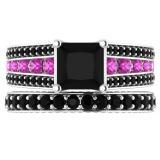 5.15 Carat (ctw) 18K White Gold Princess & Round Cut Black & Pink Cubic Zirconia Ladies Bridal Engagement Ring With Matching Band Set