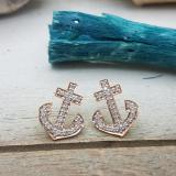 0.32 Carat (ctw) 14K Rose Gold Round Cut White Diamond Ladies Anchor Stud Earrings 1/3 CT