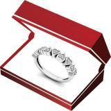 0.10 Carat (ctw) 10K White Gold Round White Diamond Heart Shape Promise Engagement Ring 1/10 CT.