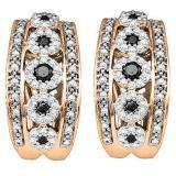 0.85 Carat (ctw) 10K Rose Gold Round White & Black Diamond Ladies Fashion Hoop Earrings
