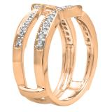 0.34 Carat (ctw) 14K Rose Gold Round Diamond Ladies Anniversary Wedding Band Enhancer Double Guard Ring 1/3 CT
