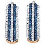 0.50 Carat (ctw) 10K Rose Gold Round Blue & White Diamond Ladies Pave Set Huggies Earrings 1/2 CT