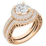 4.40 CT 10K Rose Gold Halo Round Cubic Zirconia CZ Wedding Bridal Engagement Ring Set
