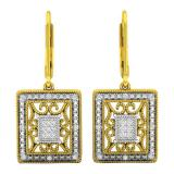 0.12 Carat (ctw) Yellow Gold Plated Sterling Silver Round White Diamond Ladies Dangling Fashion Earrings