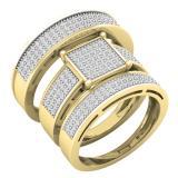 0.70 Carat (ctw) 10K Yellow Gold Diamond Men's & Women's Engagement Ring Trio Bridal Set 3/4 CT