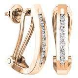 0.20 Carat (ctw) 14K Rose Gold Round White Diamond Ladies J Shape Hoop Earrings