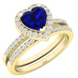 1.35 Carat (ctw) 10K Yellow Gold Heart Cut Blue Sapphire & Round Diamond Bridal Engagement Ring Set