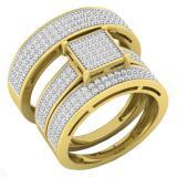 0.80 Carat (ctw) 10K Yellow Gold Round Diamond Men & Women's Cluster Engagement Ring Trio Set