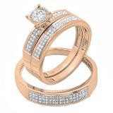 0.30 Carat (ctw) 10K Rose Gold Round Diamond Men & Women's Engagement Trio Bridal Set 1/3 CT