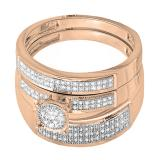 0.30 Carat (ctw) 14K Rose Gold Round Diamond Men & Women's Engagement Trio Bridal Set 1/3 CT
