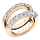 0.90 Carat (ctw) 18K Rose Gold Round Diamond Ladies Anniversary Band Millgrain Guard Double Ring