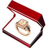 10K Rose Gold Cushion 8X7 MM Morganite & Round Champagne & White Diamond Ladies Engagement Ring
