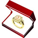 10K Yellow Gold Cushion 8X7 MM Morganite & Round Champagne & White Diamond Ladies Engagement Ring