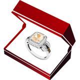 18K White Gold Cushion 8X7 MM Morganite & Round Champagne & White Diamond Ladies Engagement Ring