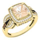 18K Yellow Gold Cushion 8X7 MM Morganite & Round Champagne & White Diamond Ladies Engagement Ring