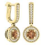 1.00 Carat (ctw) 18K Yellow Gold Round Champagne & White Diamond Ladies Halo Dangling Earrings