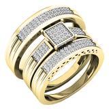 0.24 Carat (ctw) 10K Yellow Gold White Diamond Men's & Women's Engagement Ring Trio Set 1/4 CT